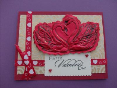 Embossed Swan<br>Homemade Love Card