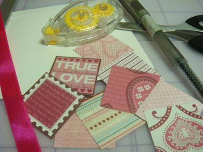patchwork of love card materials