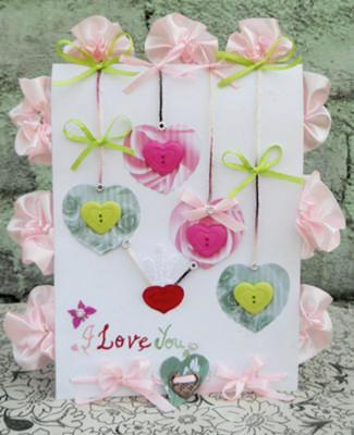 Pink and Green Valentine Card