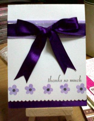 Purple Homemade Thank You Card