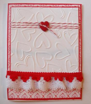 Hearts and Lace<br>Homemade Valentine Card