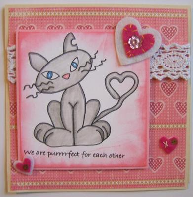 Purrfect Valentine<br>Handmade Valentine Card